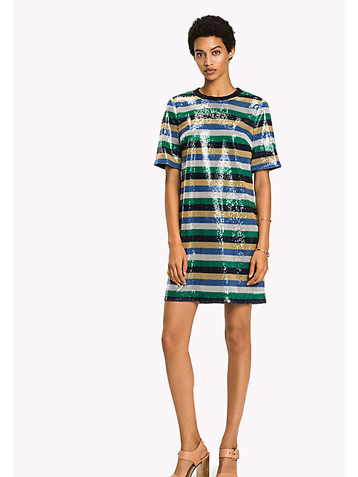 TOMMY HILFIGER Sequin Stripe Dress - SEQUIN STP / JELLY BEAN - TOMMY HILFIGER Occasion wear - main image