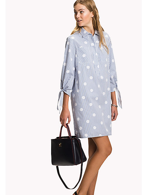 TOMMY HILFIGER Crisp Cotton Shirt Dress - OVERSIZED OVERPRINTED POLKA DOT PRT / CL - TOMMY HILFIGER Shirt Dresses - main image