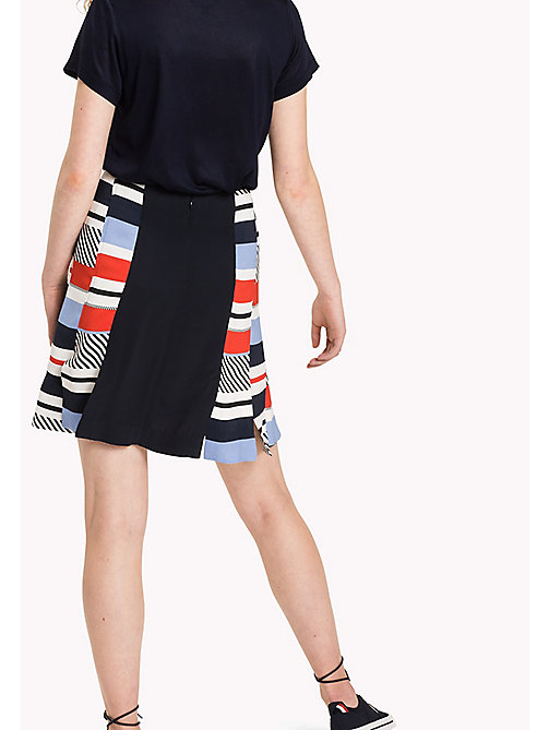 TOMMY HILFIGER Stripe Fitted Flare Skirt - SPEED PATCHWORK STP / NAVY BLAZER - TOMMY HILFIGER Skirts - detail image 1