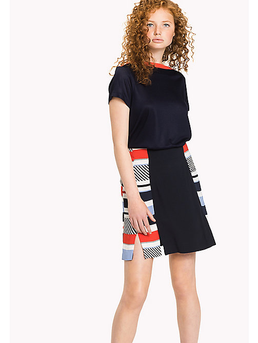 TOMMY HILFIGER Stripe Fitted Flare Skirt - SPEED PATCHWORK STP / NAVY BLAZER - TOMMY HILFIGER Skirts - main image