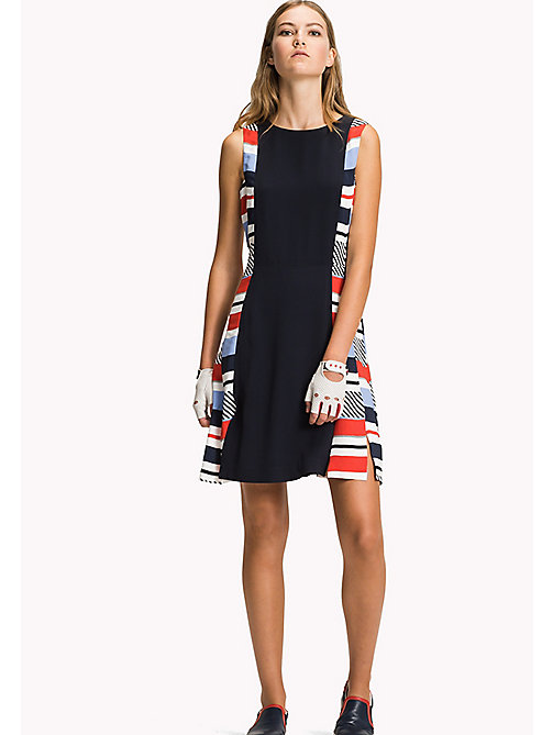 TOMMY HILFIGER Stripe Panel Fitted Dress - SPEED PATCHWORK STP / NAVY BLAZER - TOMMY HILFIGER Midi - main image