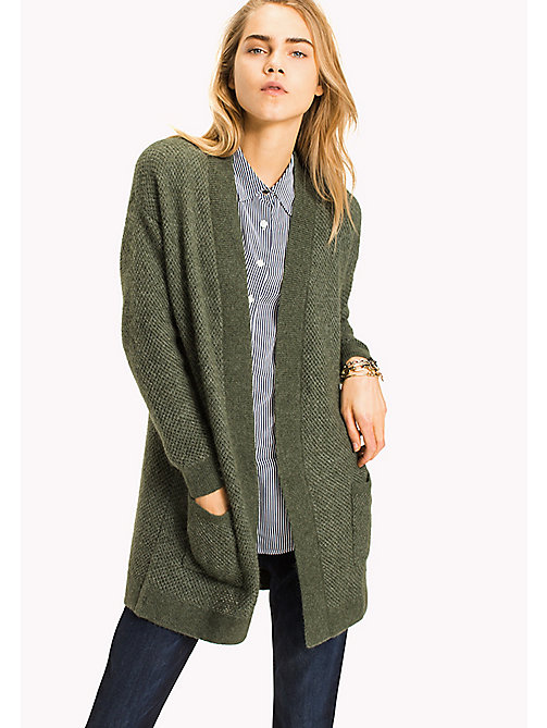 TOMMY HILFIGER Textured Aplace blend Open Cardigan - THYME - TOMMY HILFIGER Women - main image