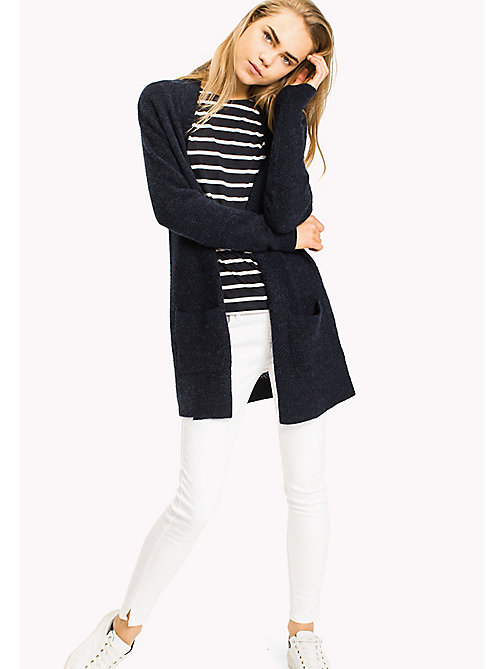 TOMMY HILFIGER Textured Aplace blend Open Cardigan - PEACOAT - TOMMY HILFIGER Women - main image