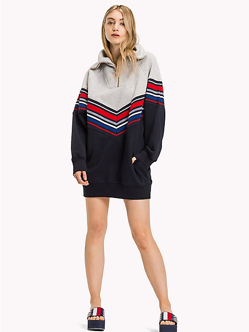 TOMMY HILFIGER Gigi Hadid Stripe Sweater Dress - MIDNIGHT / LGHT GREY HTHR - TOMMY HILFIGER Jumper Dresses - main image