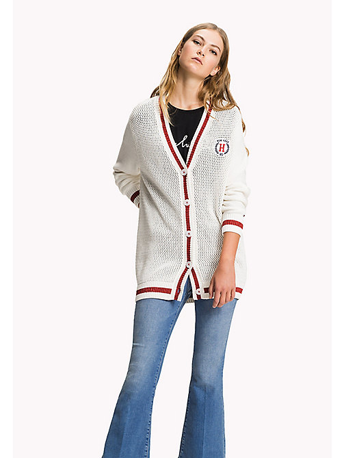 TOMMY HILFIGER Varsity Comfort Fit Cardigan - SNOW WHITE / FLAME SCARLET - TOMMY HILFIGER Clothing - main image