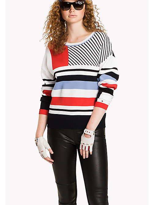 TOMMY HILFIGER Comfort Fit Pullover mit Streifen - CLASSIC WHITE / BLACK BEAUTY / MULTI - TOMMY HILFIGER NEW IN - main image