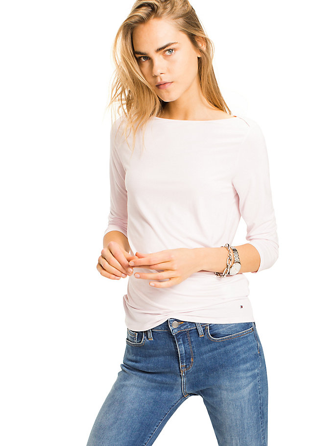 TOMMY HILFIGER Boat Neck Top - MIDNIGHT / CLASSIC WHITE - TOMMY HILFIGER Women - main image