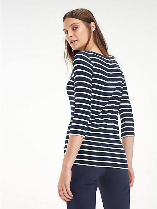 TOMMY HILFIGER Boat Neck Top - MIDNIGHT / CLASSIC WHITE - TOMMY HILFIGER Tops - detail image 1