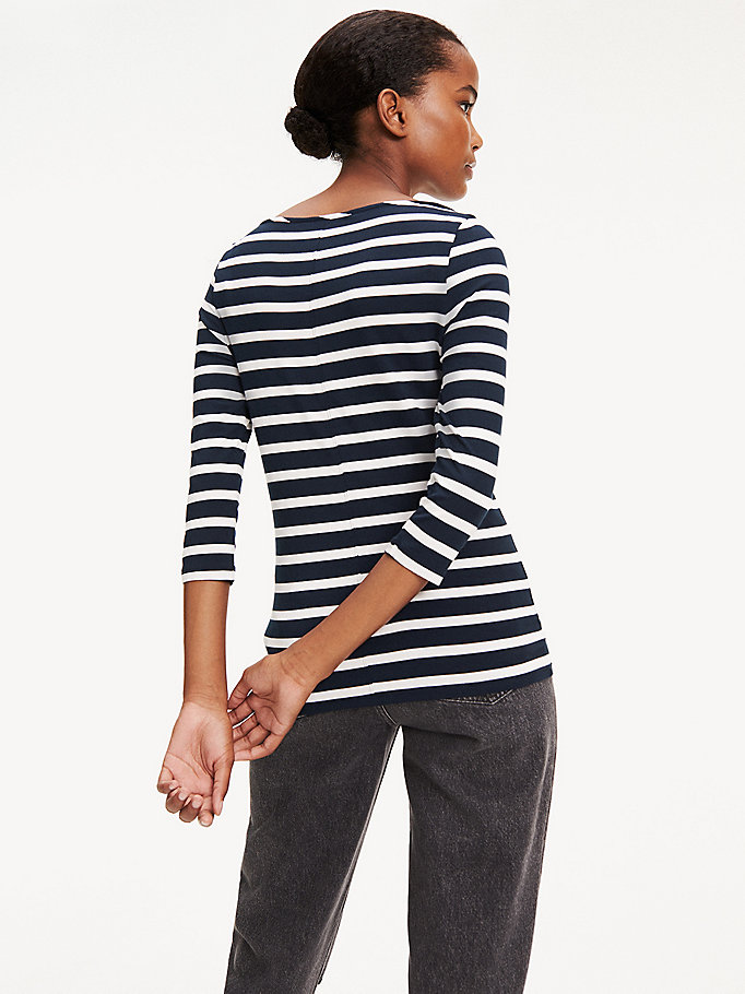 TOMMY HILFIGER Boat Neck Top - LIGHT GREY HTR / CLASSIC WHITE - TOMMY HILFIGER Women - detail image 2