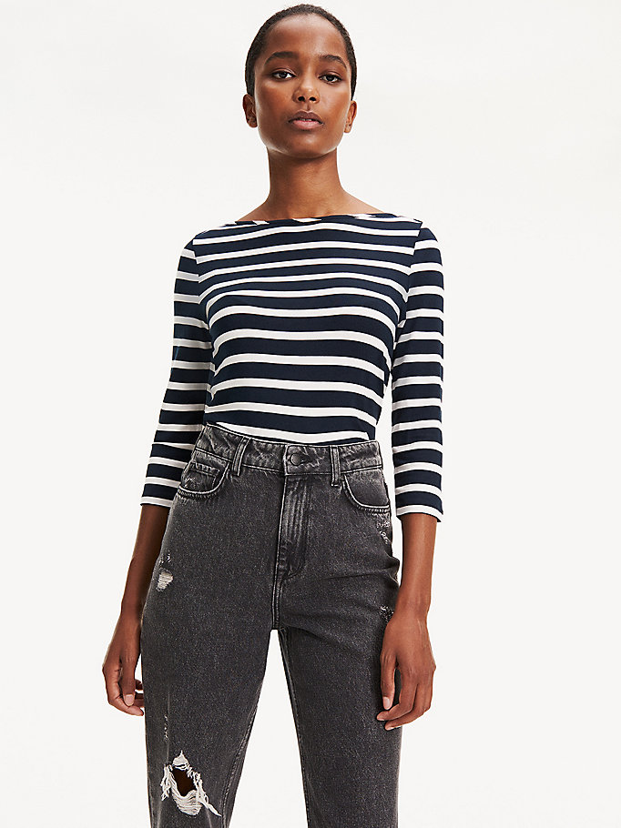 TOMMY HILFIGER Top mit U-Boot-Ausschnitt - LIGHT GREY HTR / CLASSIC WHITE - TOMMY HILFIGER Damen - main image