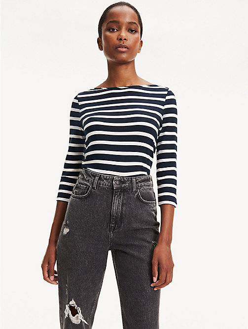 TOMMY HILFIGER Boat Neck Top - MIDNIGHT / CLASSIC WHITE - TOMMY HILFIGER Tops - main image