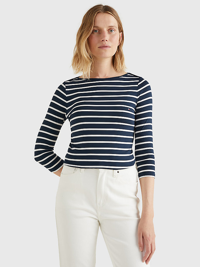 blue heritage boat neck t-shirt for women tommy hilfiger