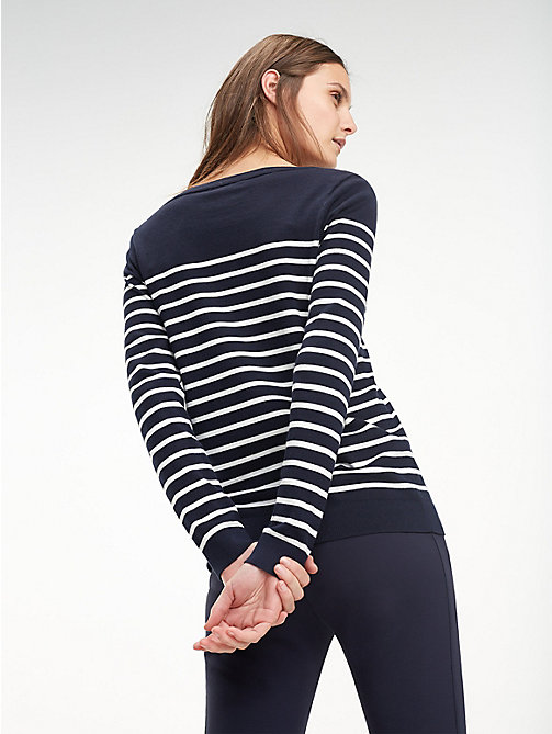 TOMMY HILFIGER Heritage Boat Neck Stripe Jumper - LIGHT GREY HTR / SNOW WHITE - TOMMY HILFIGER Jumpers - detail image 1
