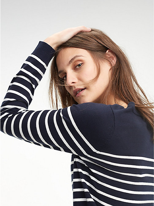 TOMMY HILFIGER Heritage Boat Neck Stripe Jumper - LIGHT GREY HTR / SNOW WHITE - TOMMY HILFIGER Basics - main image