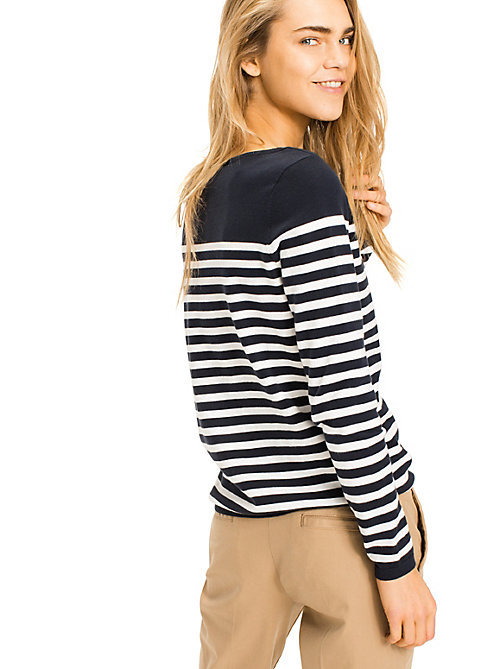 TOMMY HILFIGER Heritage Boat Neck Stripe Jumper - MIDNIGHT / SNOW WHITE - TOMMY HILFIGER Basics - detail image 1