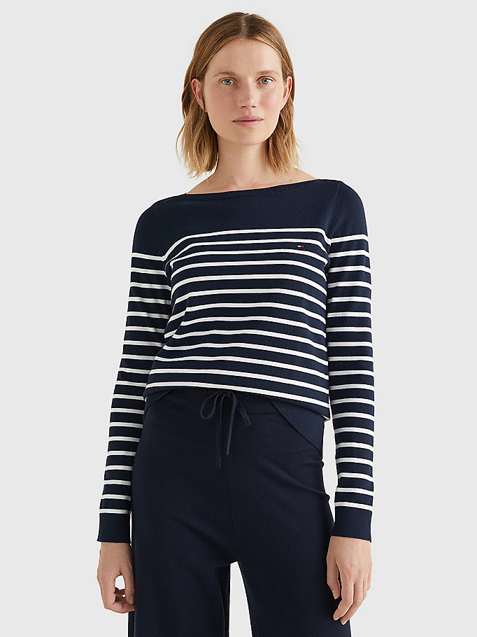 blue heritage boat neck stripe jumper for women tommy hilfiger