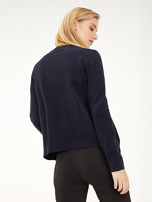 TOMMY HILFIGER Cotton Crew Neck Cardigan - MIDNIGHT - TOMMY HILFIGER Cardigans - detail image 1