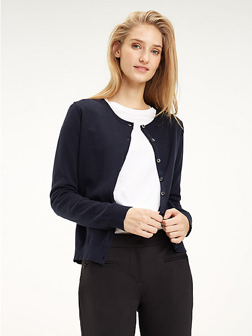 TOMMY HILFIGER Cotton Crew Neck Cardigan - MIDNIGHT - TOMMY HILFIGER Cardigans - main image