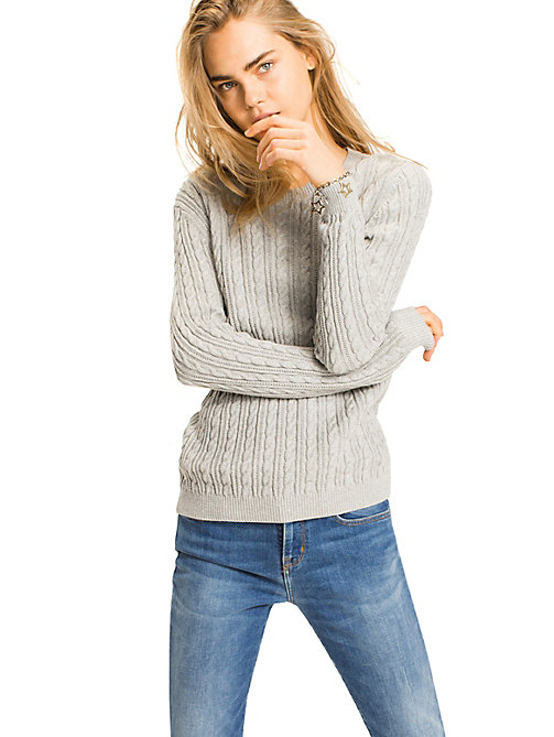 TOMMY HILFIGER Organic Cotton Cable-Knit Jumper - LIGHT GREY HEATHER LIGHT GREY HEATHER - TOMMY HILFIGER Jumpers - main image