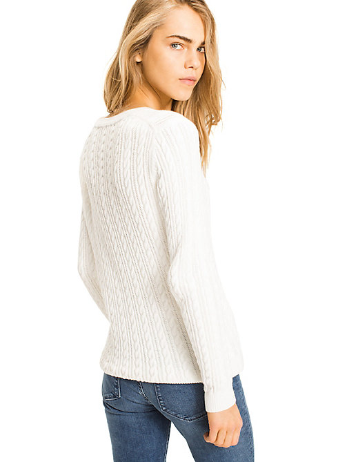 TOMMY HILFIGER Organic Cotton Cable-Knit Jumper - SNOW WHITE - TOMMY HILFIGER Jumpers - detail image 1