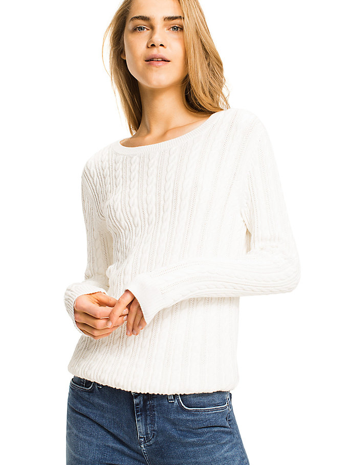 TOMMY HILFIGER Organic Cotton Cable-Knit Jumper - LIGHT GREY HEATHER LIGHT GREY HEATHER - TOMMY HILFIGER Women - main image