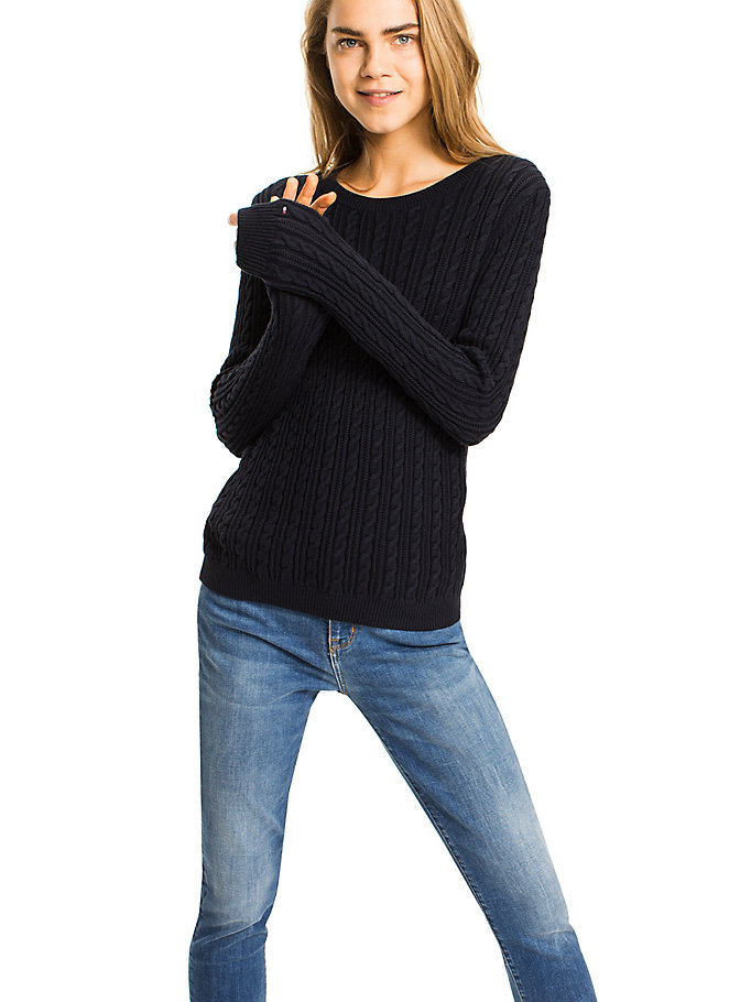 TOMMY HILFIGER Organic Cotton Cable-Knit Jumper - SNOW WHITE - TOMMY HILFIGER Women - main image