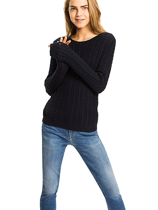 TOMMY HILFIGER Organic Cotton Cable-Knit Jumper - MIDNIGHT - TOMMY HILFIGER Jumpers - main image