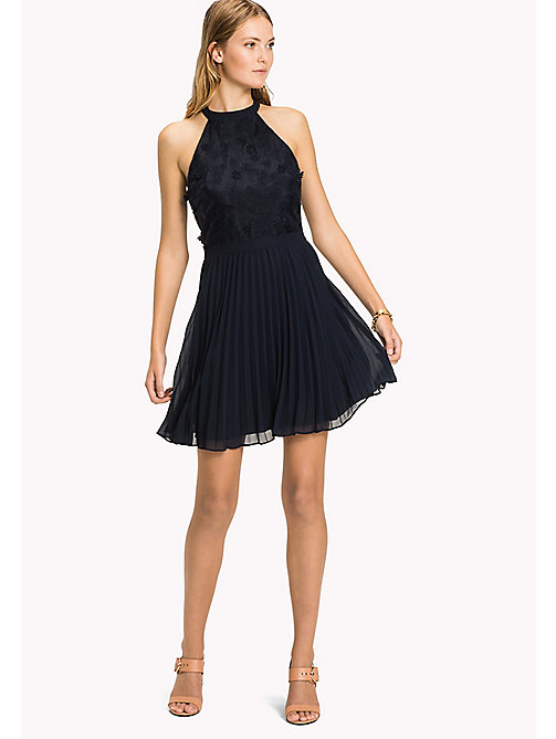 TOMMY HILFIGER Halterneck Flower Appliqué Dress - MIDNIGHT - TOMMY HILFIGER Mini - main image