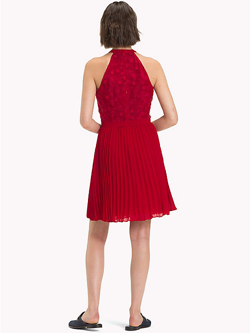 TOMMY HILFIGER Halterneck Flower Appliqué Dress - CRIMSON - TOMMY HILFIGER Occasion wear - detail image 1