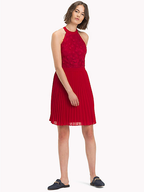 TOMMY HILFIGER Halterneck Flower Appliqué Dress - CRIMSON - TOMMY HILFIGER Occasion wear - main image
