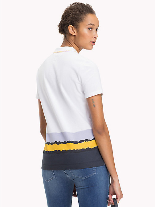 TOMMY HILFIGER Multicolour Dip Polo - CLASSIC WHITE + BORDER STP - TOMMY HILFIGER Polo Shirts - detail image 1