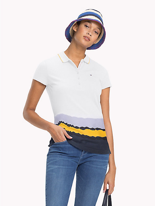 TOMMY HILFIGER Multicolour Dip Polo - CLASSIC WHITE + BORDER STP - TOMMY HILFIGER Polo Shirts - main image