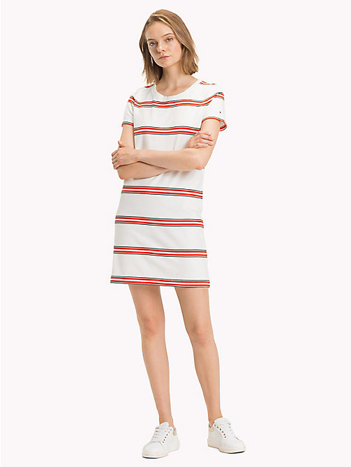 TOMMY HILFIGER Stripe Crew Neck Dress - YARN DYED STP / FIESTA - TOMMY HILFIGER Midi - main image