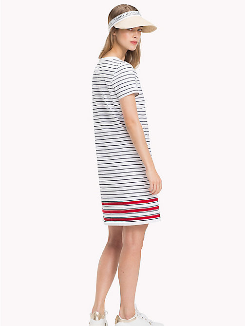 TOMMY HILFIGER Stripe Crew Neck Dress - CL. WHITE / MIDNIGHT / POMPEIAN RED STP - TOMMY HILFIGER Midi - detail image 1