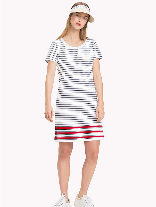 TOMMY HILFIGER Stripe Crew Neck Dress - CL. WHITE / MIDNIGHT / POMPEIAN RED STP - TOMMY HILFIGER Midi - main image
