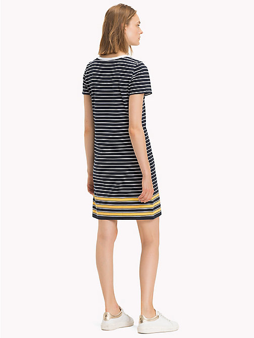 TOMMY HILFIGER Stripe Crew Neck Dress - MIDNIGHT / CLASSIC WHITE / SAMOAN SUN ST - TOMMY HILFIGER Midi - detail image 1