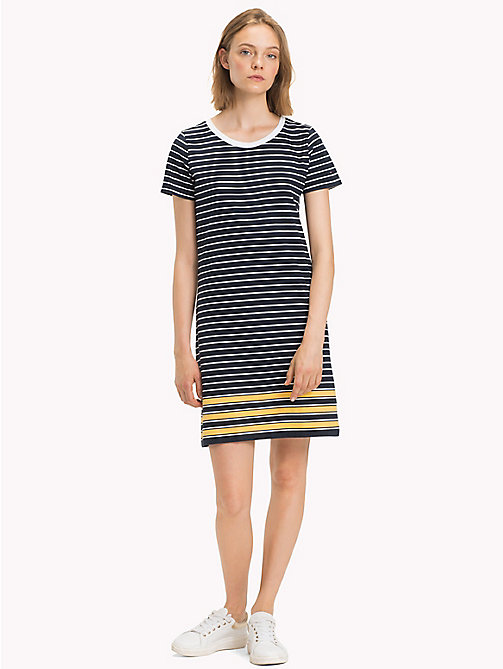TOMMY HILFIGER Stripe Crew Neck Dress - MIDNIGHT / CLASSIC WHITE / SAMOAN SUN ST -  Midi - main image