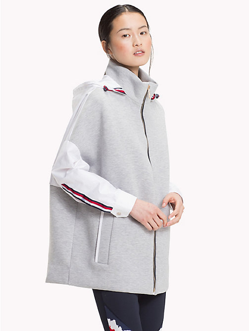 TOMMY HILFIGER Signature Hood Jacket - CLASSIC WHITE / LIGHT GREY HTR - TOMMY HILFIGER Athleisure - main image
