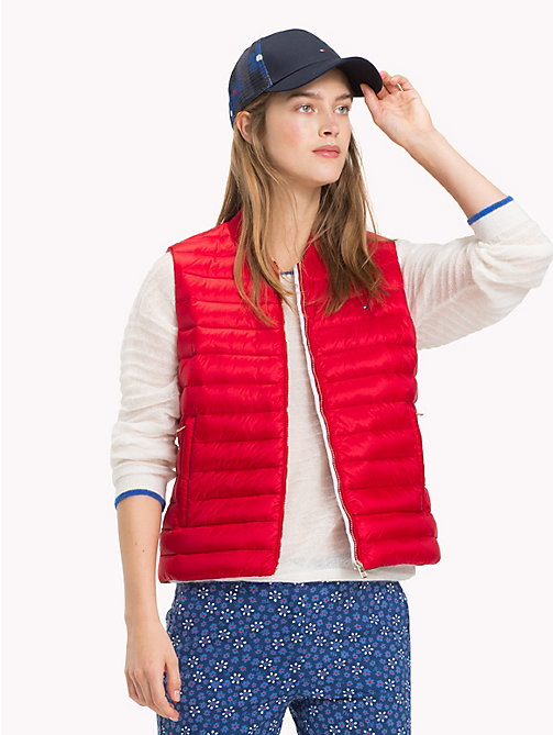 TOMMY HILFIGER Quilted Vest Jacket - POMPEIAN RED - TOMMY HILFIGER Sustainable Evolution - main image