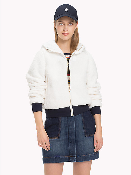 TOMMY HILFIGER Reversible Shearling Bomber Jacket - SNOW WHITE - TOMMY HILFIGER Clothing - main image