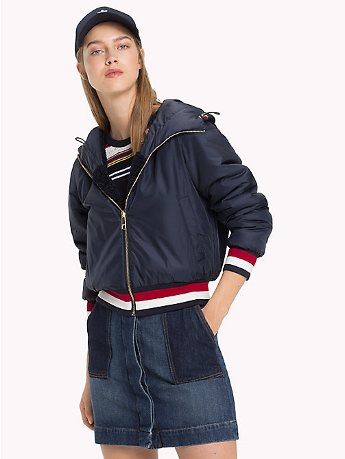 TOMMY HILFIGER Reversible Shearling Bomber Jacket - MIDNIGHT - TOMMY HILFIGER Clothing - main image