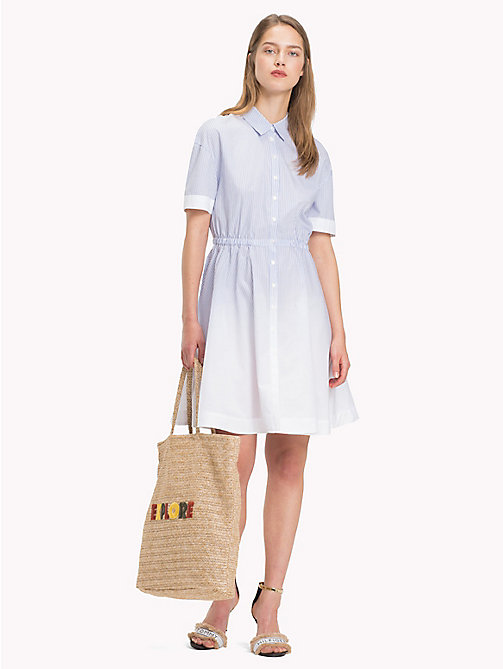 TOMMY HILFIGER Faded Micro Stripe Dress - BLEACHED ITHACA STP / EVENTIDE - TOMMY HILFIGER Shirt Dresses - main image
