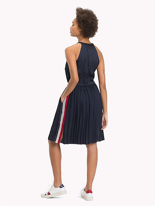 TOMMY HILFIGER High Neck Pleated Satin Dress - MIDNIGHT - TOMMY HILFIGER Midi - detail image 1