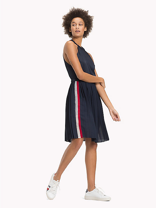 TOMMY HILFIGER High Neck Pleated Satin Dress - MIDNIGHT - TOMMY HILFIGER Dresses - main image