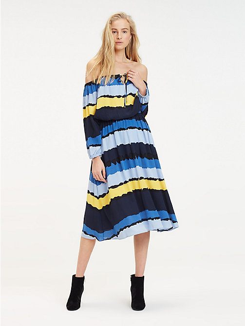 TOMMY HILFIGER Tie Dye Midi Dress - TIE DYE STP / SKY CAPTAIN - TOMMY HILFIGER Vacation Style - main image