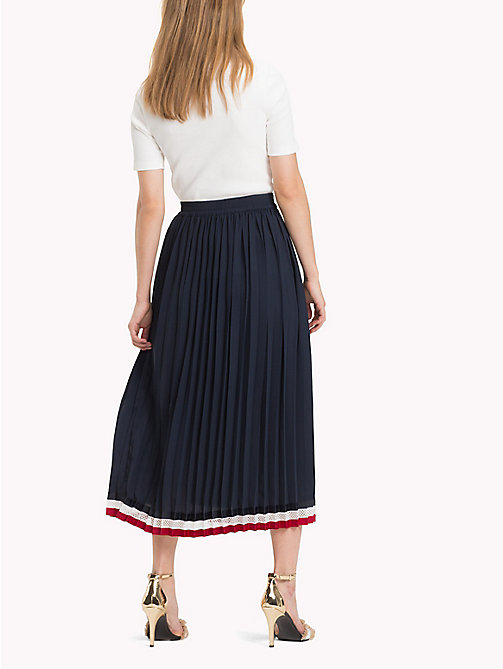 TOMMY HILFIGER Pleated Crepe Skirt - MIDNIGHT - TOMMY HILFIGER Signature stripes - detail image 1