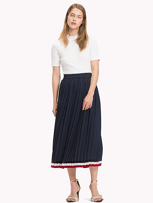 TOMMY HILFIGER Pleated Crepe Skirt - MIDNIGHT - TOMMY HILFIGER Signature stripes - main image