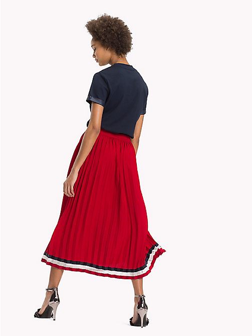 TOMMY HILFIGER Pleated Crepe Skirt - POMPEIAN RED - TOMMY HILFIGER Signature stripes - detail image 1