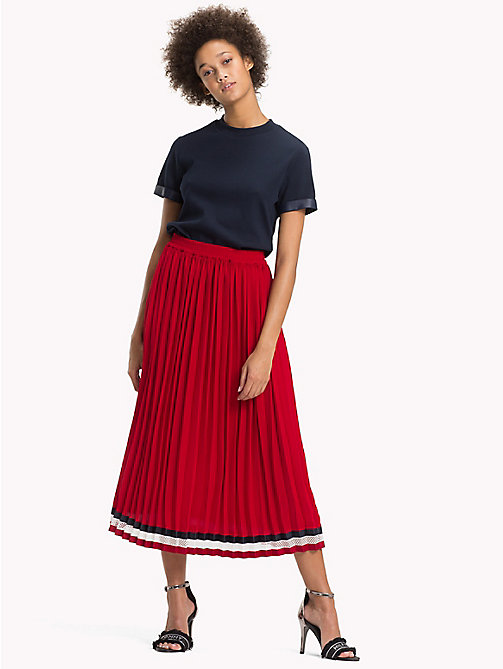TOMMY HILFIGER Pleated Crepe Skirt - POMPEIAN RED - TOMMY HILFIGER Signature stripes - main image