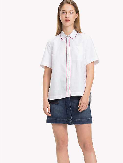 TOMMY HILFIGER Scalloped Cotton Shirt - CLASSIC WHITE - TOMMY HILFIGER Shirts - main image